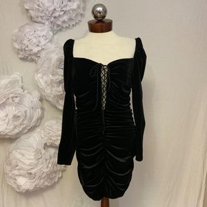 Zara Dresses - * New ZARA Short Mini Black Lace-Up Velvet Dress
